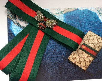 780d1cd1b40 3for2 Promotion Gucci Inspired Striped Ribbon Brooch set select your  Handmade Pin Brooch