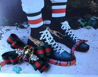 1db86b006ca 3for2 Gift Gucci Inspired Striped Ribbon Brooch Handmade Pin Brooch