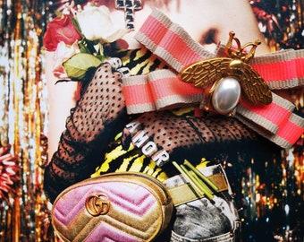 78adb5a6122 Gucci inspired Designer Inspired Ribbon brooch pink golden ribbon Golden  Bee Woman   Man Brooches Long Ribbon Big Bowknot Shirt s Wedding