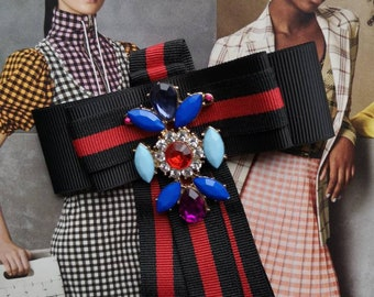 e2455cb0d033c8 Gucci inspired New Fashion Woman & Man Brooches Long Ribbon Big Bowknot  Shirt's Bow Tie Collar Accessories Fashion Jewelry Dark Red striped