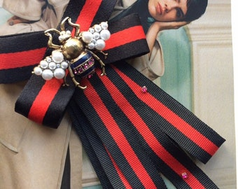 f43eeabb845f45 New Addition Black/Red Ribbon and Bee by Gucci inspired Fashion Woman & Man  Brooches Long Ribbon Big Bowknot Shirt's Bow Tie Collar