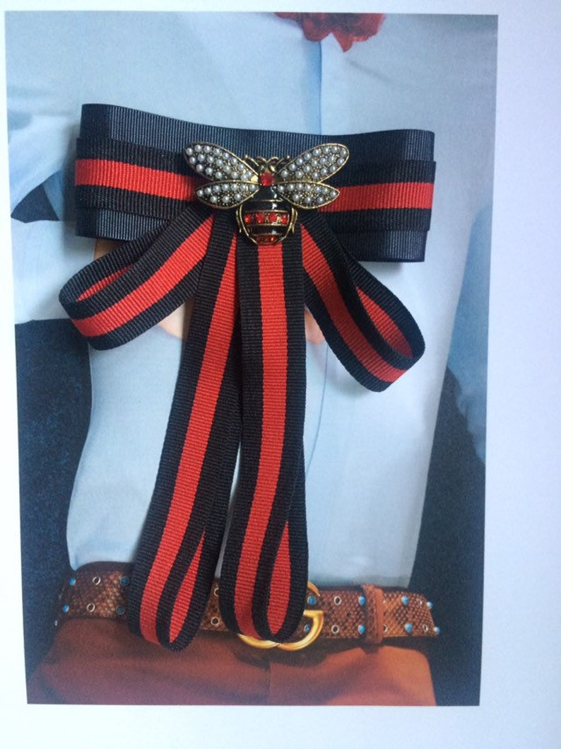 cbab65d3 New Gucci Brooch Ribbon Designer Indpired Red/Black ribbon soft with  Butterfly large Ribbon Bow, Bow Brooch Handmade