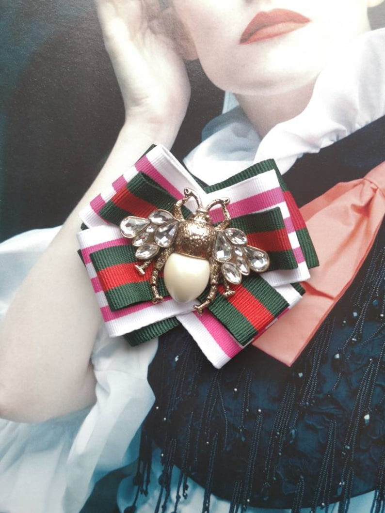 Fabric Bowknot Handmade Large Ribbon Brooch Bee Bow Brooch And Pins For Women Jewellery Gifts