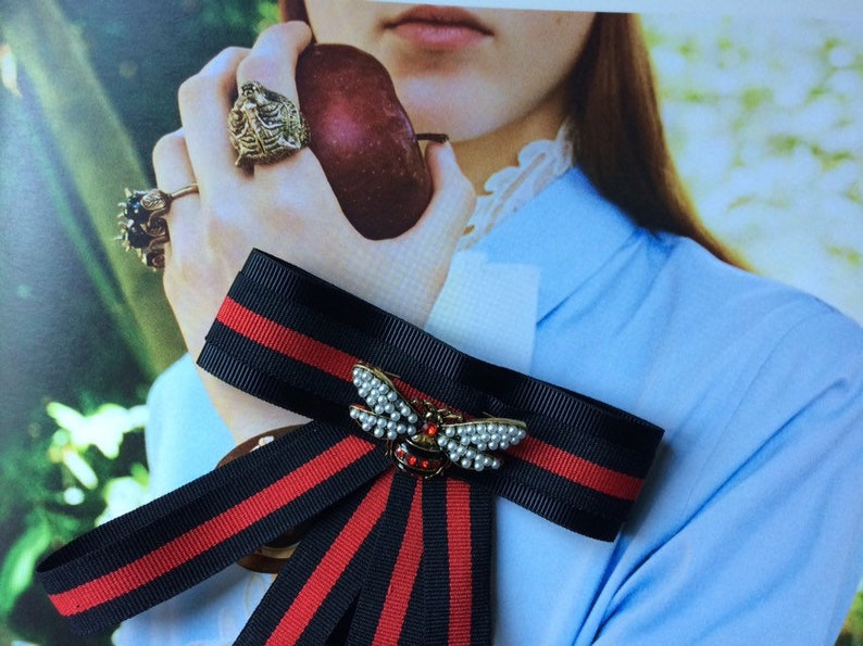 954981bb320 3for2 Gift Promotion Gucci Inspired Striped Ribbon Brooch