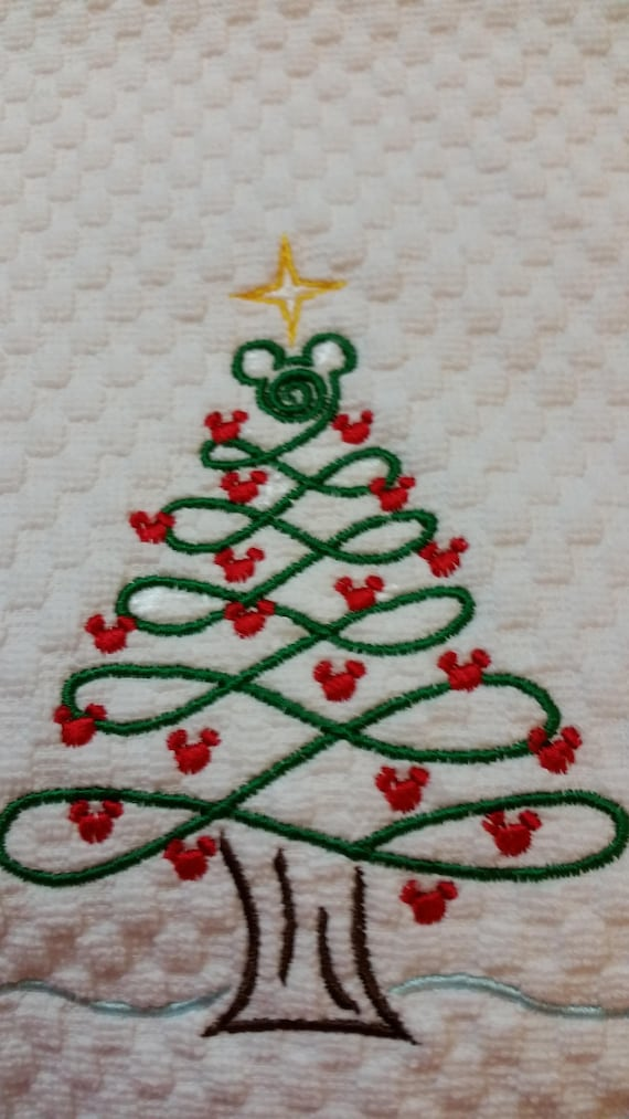 Mickey Mouse Christmas Tree.Mickey Mouse Christmas Tree Hand Towel Disney Decor Disney Christmas Towel Mickey Christmas Decor Disney Bath Disney Kitchen