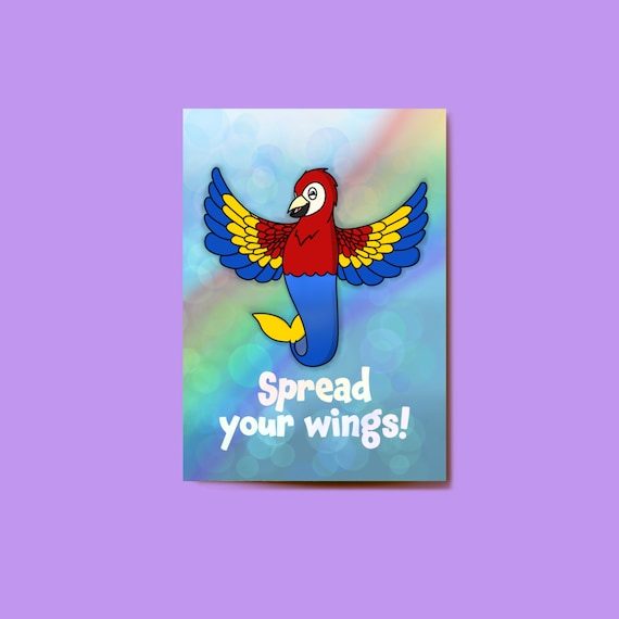 Spread your wings Mermay Postcard. 6 by 4 inch Postcard. Mermaid Postcard. Cute Postcard. Recycled Postcard.
