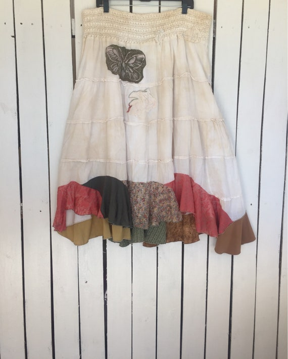 75rabbit Shabby festival artsy Victorian hemline stained gypsy whimsical lace plus tea size clothing butterfly tattered skirt PwvqUPZr