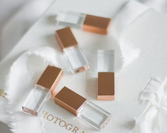 5x 4GB Rose Gold Crystal USB drive 2.0 for Luxury Fine Art Wedding and Portrait Photographers
