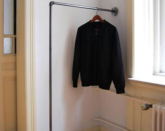 Clothes rail clothing rack - STAND - black or galvanized - steel pipe wardrobe rod