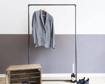 clothing stand - clothes rack - garnment steel pipe - clothes rail - open wardrobe - DECENT - black galvanized