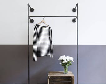 Clothink rack clothes rack coat stand -  2x MONO HIGH - black galvanized - steel pipe