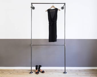 clothes rack - steel pipe - open wardrobe - clothing rack - coat stand - clothing rail - clothing stand - DOPPIO - black galvanized