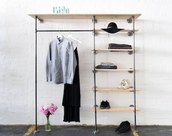 Industrial clothing rack with shelves - steel pipes clothes stand - steel pipe shelf