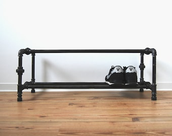 Shoe rack - steel pipe - black galvanized - shoe schelve