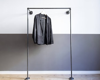 coat stand - clothing stand - clothes rack - steel pipe - MONO LOW - open wardrobe - black galvanized