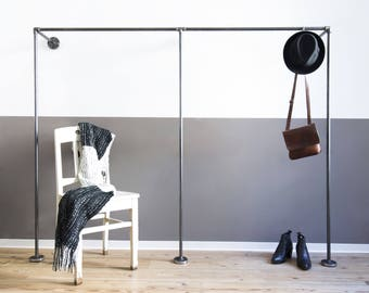 open wardrobe - clothes rack - clothing rack - steel pipe - coat stand - 2x - DUO LOW - black galvanized