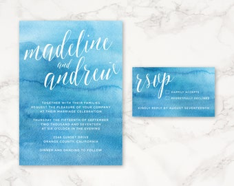 Printable Wedding Invitation - Bright Blue Watercolor - DIY Printing - Simple