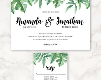 Printable Wedding Invitation - Watercolor Tropical Greenery - Hand Painted - Leaves - Green - DIY Printing - Destination Wedding