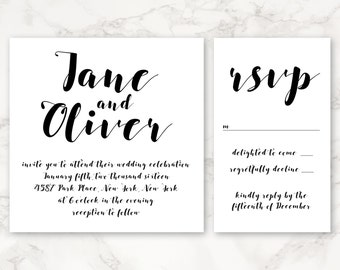 Printable Wedding Invitation - Minimal Invitation - Simple Black and White Square Format - Customizable Colors - Script
