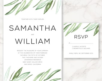 Printable Wedding Invitation - Watercolor Olive Branches - Greenery - Floral - DIY Printing