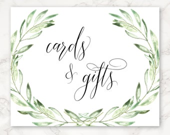 Printable Reception Sign - Cards and Gifts - Olive Branch - Watercolor - Greenery - Nature