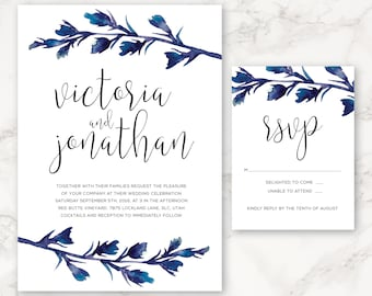 Printable Wedding Invitation - Watercolor Branch - Blue - Minimal - Simple - DIY Printing - Nature