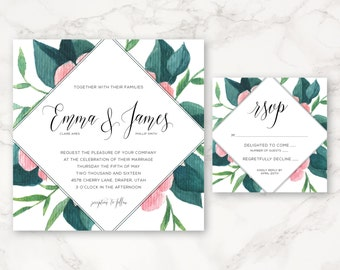 Printable Wedding Invitation - Floral - Square - Watercolor - Greenery - Nature - Spring