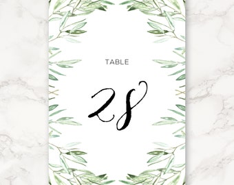 Printable Wedding Table Numbers - 4x6 - Includes Numbers 1–30 - Olive Branch - Greenery