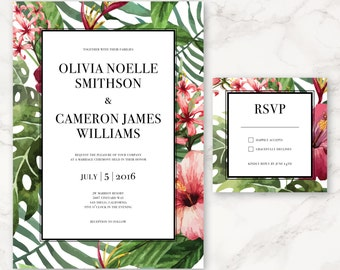 Printable Wedding Invitation - Watercolor Tropical Flowers - DIY Printing - Floral Invitation