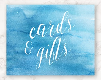 Printable Wedding Sign - Cards and Gifts - Bright Blue Watercolor - DIY Printing
