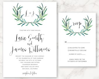 Printable Wedding Invitation - Eucalyptus Greenery - Monogram - DIY Printing - Floral