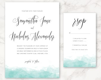 Printable Wedding Invitation - Watercolor - Minimal - DIY Printing - Simple - Customizable Colors