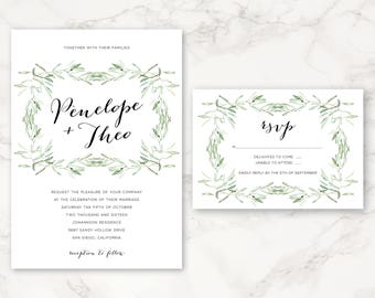 Printable Wedding Invitation - Olive Branch - Greenery - Nature - DIY Printing - Minimal