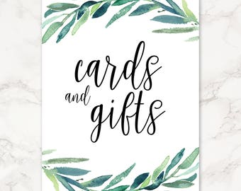 Printable Cards and Gifts Reception Sign - Greenery - Eucalyptus Leaves - Floral
