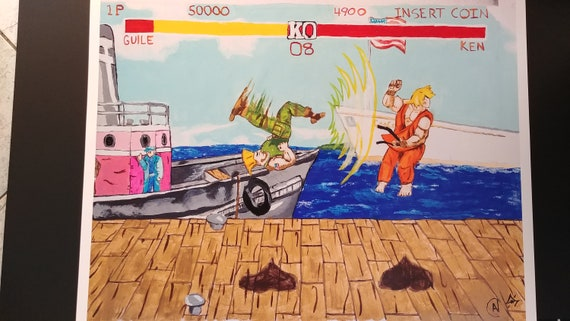 Street Fighter Ii Ken And Guile Dock Stage Etsy