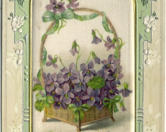 Sweet Violets in a Basket on Fabric Joyful Eastertide Antique Embossed 1910's Printed in Germany POSTCARD Post Card