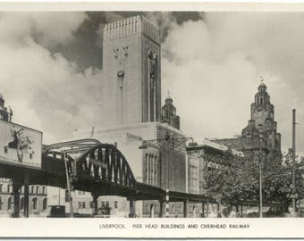 Pier Head & Overhead Railway LIVERPOOL UK Real Photo 1950's Postcard RPPC