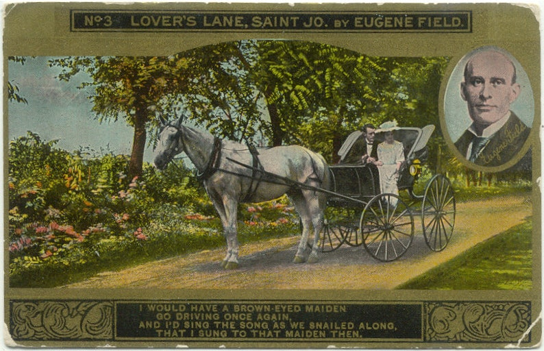 Couple in Carriage LOVER/'S LANE Poems by Eugene Field No 9 in Series Antique Postcard