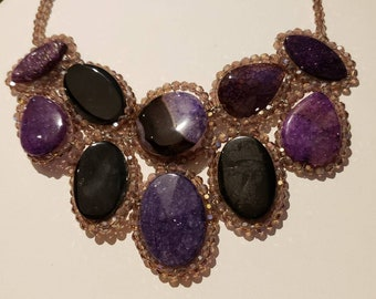 Purple and black semiprecious stone bib necklace with beaded detail, unique, boho, trendy, women's fashion jewelry, gift for her