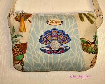 Seaside Embroidered Seashell with Pearl Shoulder Bag