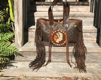 VINTAGE SWAG Boho-style Fringed Vintage Louis Vuitton Indian Chief Tote