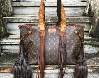 VINTAGE SWAG Vintage Fringed Louis Vuitton Boho Girl Tote