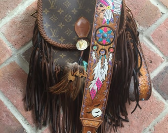 VINTAGE SWAG Boho-Inspired  Fringed Vintage Louis Vuitton Crossbody Bag