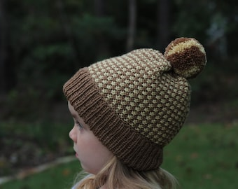 98208e12ddb SALE Knit Kids Hat Coffee Brown Beanie Children Hat Toddler Beanie with  Pompom Hat Unisex Hats Family Look Girl Hat for Boy Kids Hat Knit