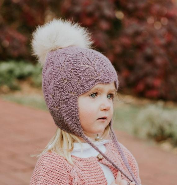 72b71bc7b84 KNITTED BONNET Baby Girl Knit Hat Kids Hats Winter Wool Bonnet