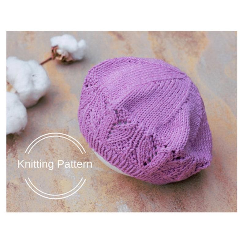 6d4efa55 Beret Hat KNITTING PATTERN Beret for Girl Toddler Lace Hat | Etsy
