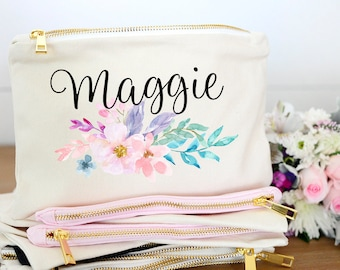 Floral Bridesmaid Monogram Makeup bag, Floral Bridesmaid Initial Makeup Bag, Floral Bridesmaid Initial Cosmetic Bag, Floral Monogram Bag