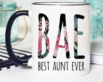Auntie Coffee Mug BAE Best Aunt Ever Ceramic Mug Birthday Gift for Aunt Tea Cup