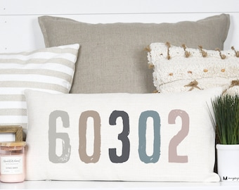 Zip Code Pillows Etsy