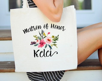Matron of Honor Tote bag, Floral Matron of Honor Tote, Custom Matron of Honor Tote, Tote Bag for Matron of honor, Personalized Matron Tote